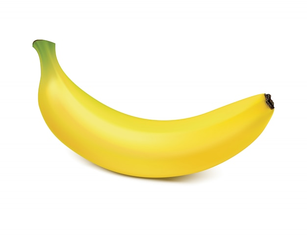Banan na białym tle na biały wektor 3d