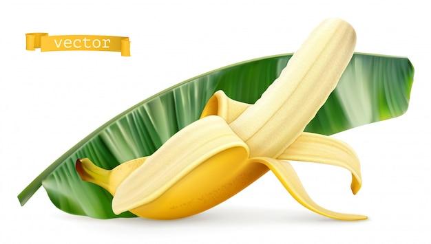 Banan na zielonym liściu. świeży owoc. 3d realistyczna ikona