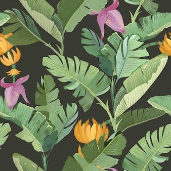 Banan palm tropikalny wzór liści, kwiatów, owoców i oddziałów. zielone tło botaniczne z papierem do pakowania lub nadrukiem tekstylnym, projekt ornament tapeta las deszczowy. ilustracja wektorowa
