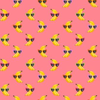Banan śmieszne okulary bezszwowe wzór do druku mody, lato tekstury, tapety, projekt graficzny, tropikalny tło, ilustracja owoców w wektorze