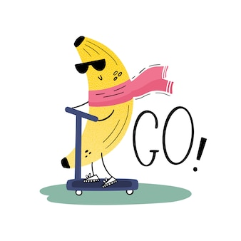 Banan z okularami przeciwsłonecznymi na hulajnodze. podróżny. wesoły owoc na wakacjach. ilustracja wektorowa w stylu płaski, wyciągnąć rękę