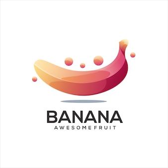 Bananowa kolorowa ilustracja gradientu logo