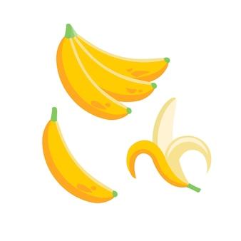 Bananowe owoce tropikalne w płaskiej ilustracji