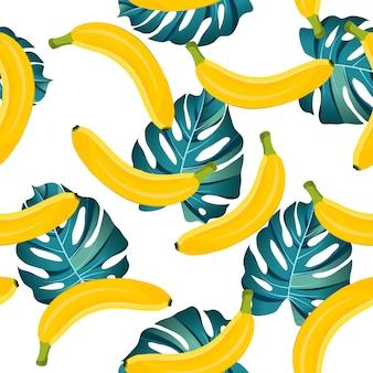 Bananowy bezszwowy wzór z tropikalnymi liśćmi