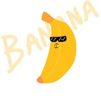 Bananowy żółty owoc kawaii ładny banan w okularach przeciwsłonecznych stockowa ilustracja wektorowa na białym tle