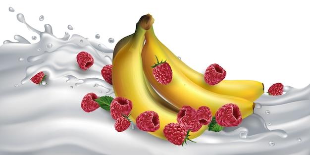 Banany i maliny na fali mleka lub jogurtu. realistyczna ilustracja.