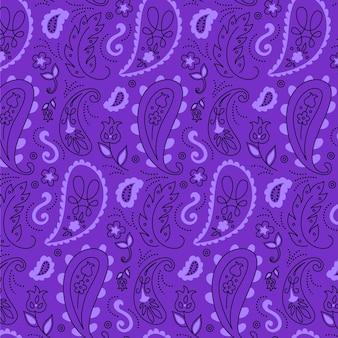 Bandamka paisley w fioletowe stonowane wzory