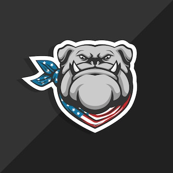 Bandamka z buldogiem amerykańskim. logo maskotki.