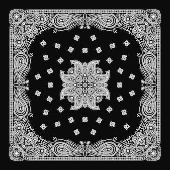 Bandana paisley ornament pattern klasyczny czarno-biały wzór w stylu vintage