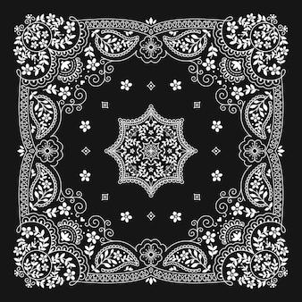 Bandanna paisley ornament pattern klasyczny czarno-biały wzór w stylu vintage