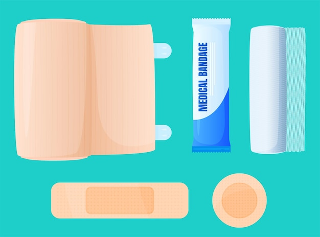 Bandaż, bandaż elastyczny, plaster samoprzylepny.