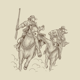Bandyta kowboj na koniu