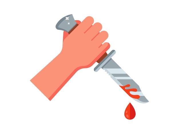 Bandyta trzyma w dłoni zakrwawiony nóż. ilustracja na białym tle.