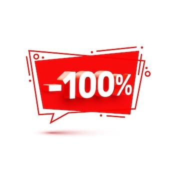 Baner 100 z rabatem procentowym na akcje. ilustracja wektorowa