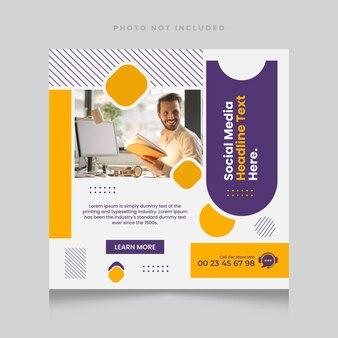 Baner agencji marketingu cyfrowego i szablon postu w mediach społecznościowych