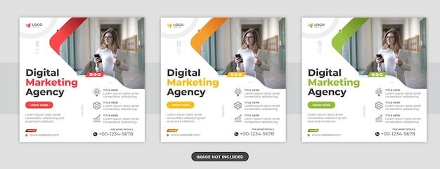 Baner agencji marketingu cyfrowego lub projekt szablonu postu na facebooku w mediach społecznościowych