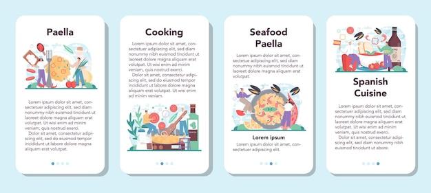 Baner aplikacji mobilnej paella zestaw tradycyjne hiszpańskie danie z owocami morza