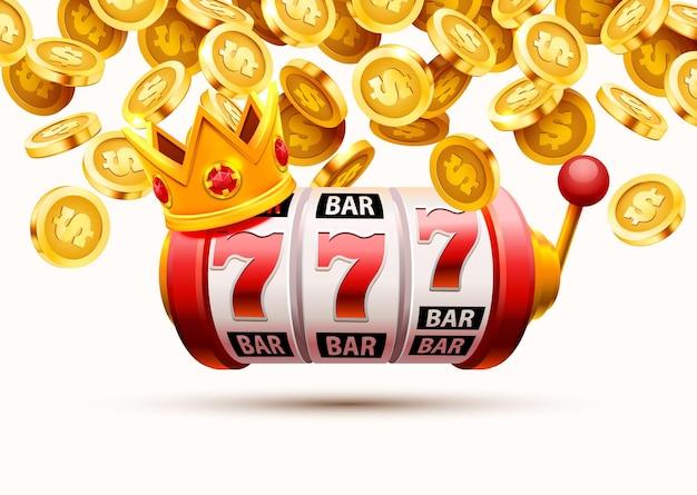 Baner automatów 777, jackpot złotych monet, okładka casino 3d, automaty do gier i ruletka z kartami