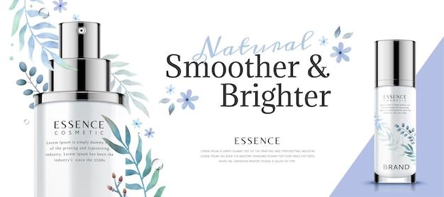 Baner bannerowy produktu do pielęgnacji skóry z roślinnymi dekoracjami akwarelowymi w stylu 3d