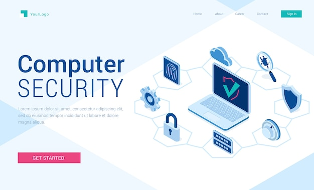 Baner bezpieczeństwa komputera. pojęcie bezpieczeństwa technologii internetowej, dane bezpieczne.