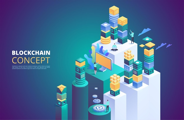 Baner blockchain. izometryczne bloki cyfrowe.