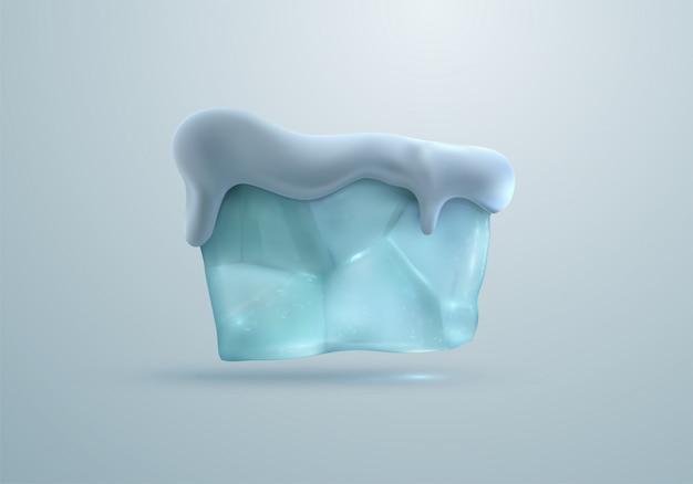 Baner bloku lodu z czapą śnieżną.