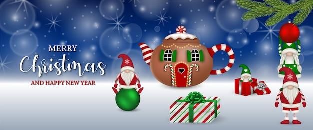 Baner Bożonarodzeniowy Z śmieszne Krasnale Premium Wektorów