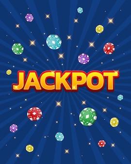 Baner casino jackpot z kolorowymi żetonami może być używany jako plakat ulotki lub reklama