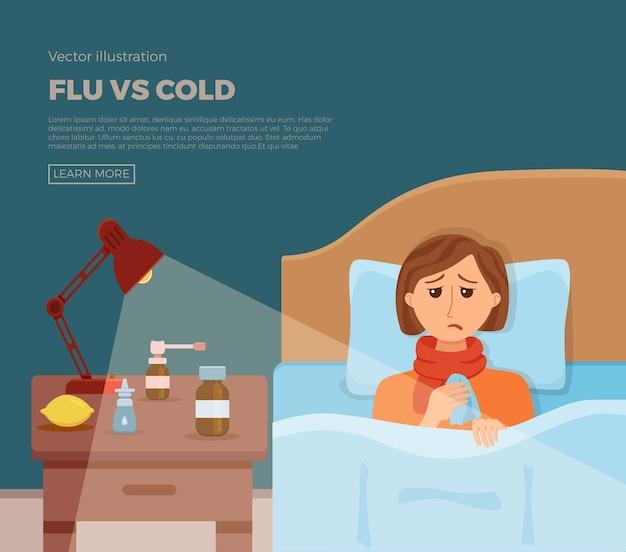 Baner chora dziewczyna w łóżku z objawami przeziębienia, grypy