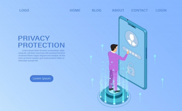 Baner chroni dane i poufność na urządzeniach mobilnych. ochrona prywatności i bezpieczeństwo