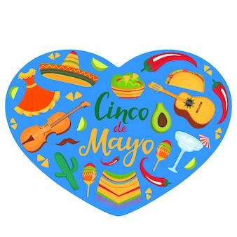 Baner cinco de mayo. sombrero, gitara, poncho, kaktus, guacamole, tacos. dekoracje na narodowe meksykańskie uroczystości.