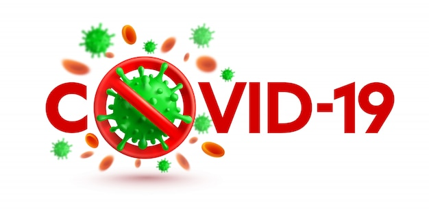 Baner coronavirus 2019-ncov ze znakiem stop i zielonymi komórkami wirusa na białym tle