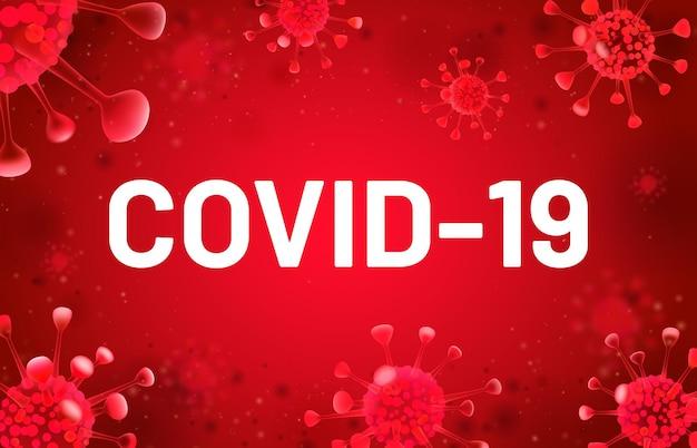 Baner covid-19 z unoszącym się czerwonym wirusem. komórki koronawirusa, infekcja epidemiczna