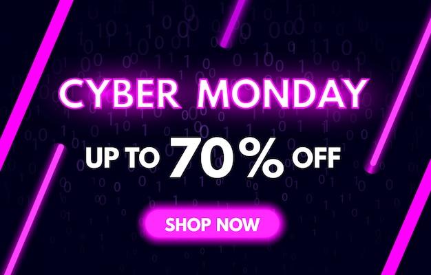 Baner cyber monday sprzedaż w modnym neonowym stylu. kup teraz koncept. nocna reklama rabatów sprzedażowych w cybernetyczny poniedziałek. jasny fioletowy świetlny szyld.