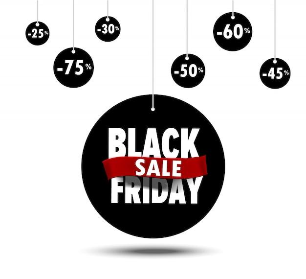 Baner czarny piątek płaska konstrukcja na sprzedaż zakupy rabat plakat concept - 50%