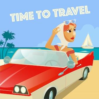 Baner czas na podróż. kobieta w cabrio. wakacje na plaży. kobieta na wakacjach.