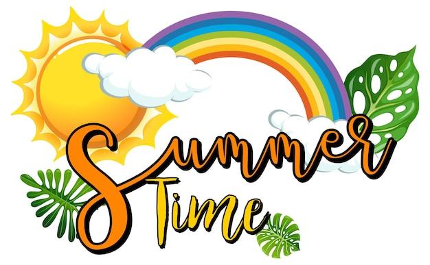 Baner czasu letniego ze słońcem i tęczą w stylu kreskówki na białym tle