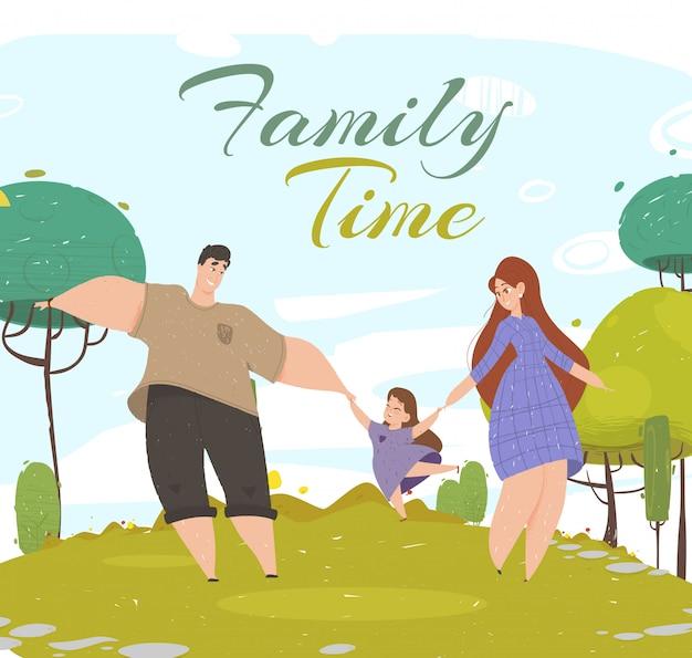 Baner czasu rodzinnego. kobieta mężczyzna i dziewczyna spaceru