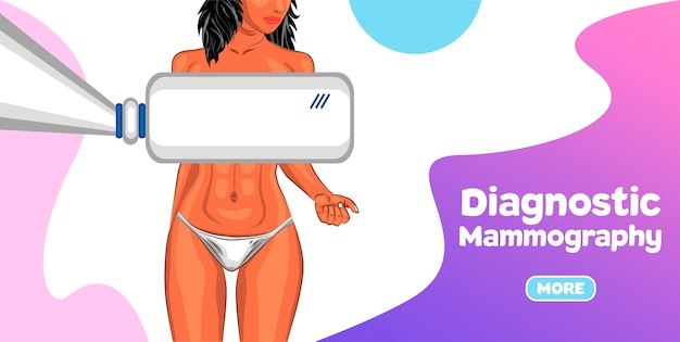Baner diagnostyczny mammografii. procedura badania mammograficznego w nowoczesnej klinice.
