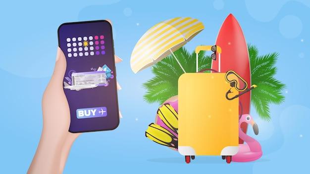 Baner dla biura podróży. ręka trzyma telefon komórkowy z aplikacją do zakupu