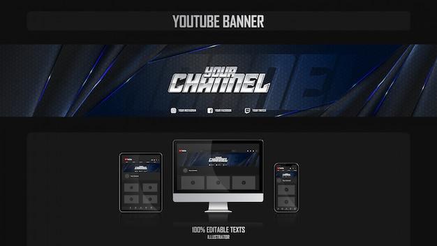 Baner dla kanału mediów społecznościowych z koncepcją nocy