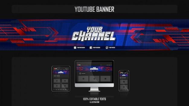 Baner dla kanału mediów społecznościowych z koncepcją sport