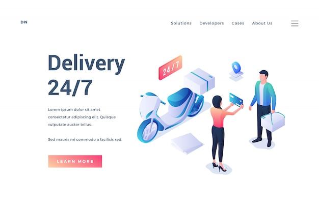 Baner dla wygodnej usługi dostawy 24 7