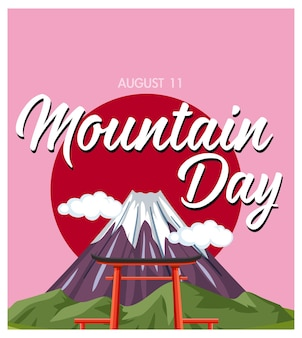 Baner dnia gór w japonii z górą fuji