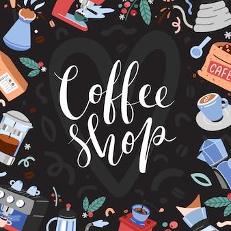 Baner do kawiarni z ilustracjami