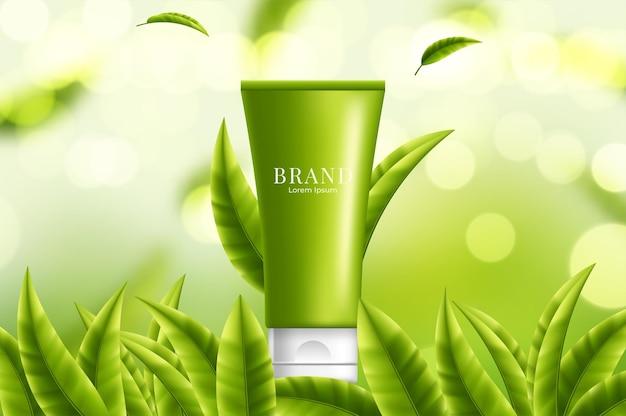 Baner do pielęgnacji skóry zielonej herbaty z herbacianym ogrodem