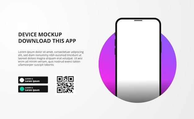Baner do pobierania aplikacji na telefon komórkowy, smartfon 3d, przyciski pobierania ze skanowanym szablonem kodu qr.