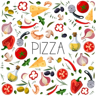 Baner do pudełka na pizzę. tradycyjni różni składniki dla włoskiej pizzy