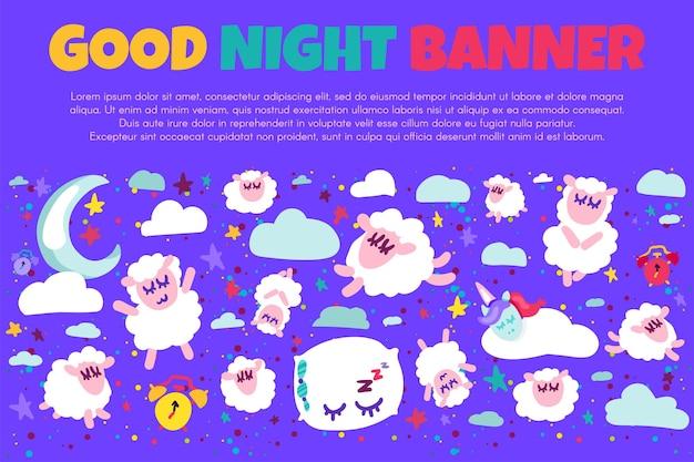Baner dobrej nocy z płaskimi owcami. ilustracja pozytywna czas snu. gwiaździste nocne niebo. słodkie sny