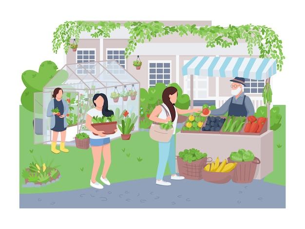 Baner domowy szklarni domu, plakat. ogrodników i kupujących znaków na tle kreskówka. ogrodnictwo, uprawa warzyw, produkty ekologiczne sprzedające plastry do drukowania, kolorowe elementy sieciowe